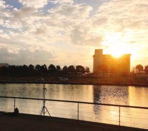 夕日に染まる環水公園です