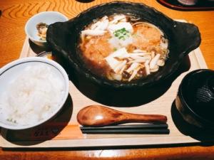 白山豆腐ときのこのカツ煮定食