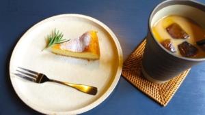 アイスカフェオレとベイクドチーズケーキ