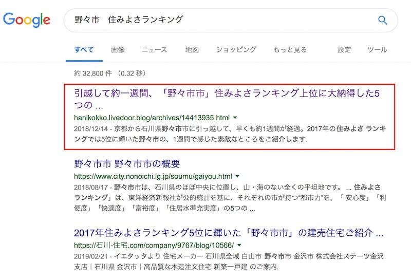 検索結果ページの一番上に表示されている私のブログページ