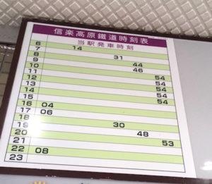 信楽駅の時刻表