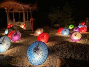 和傘のライトアップ