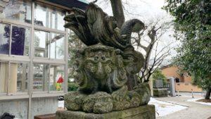佐那武神社の逆立ち狛犬